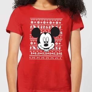 Disney Mickey Face Women's Christmas T-Shirt - Red