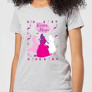 T-Shirt Principesse Disney Silhouettes Christmas - Grigio - Donna