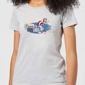 Looney Tunes Peace Among Earthlings Women's Christmas T-Shirt - Grey