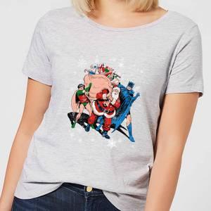 DC Comics Batman Robin Santa Claus Women's Christmas T-Shirt in Grey