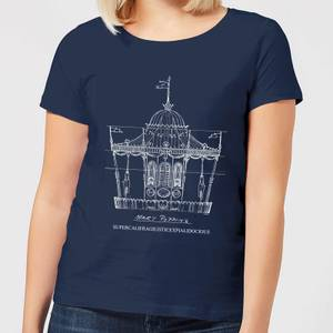 T-Shirt Mary Poppins Carousel Sketch Christmas - Navy - Donna