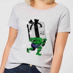 Marvel The Incredible Hulk Christmas Present Women's Christmas T-Shirt - Grey