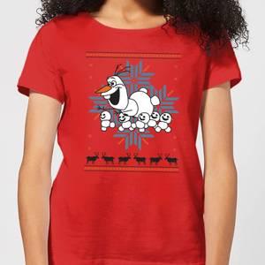 Disney Frozen Olaf and Snowmen Women's Christmas T-Shirt - Red