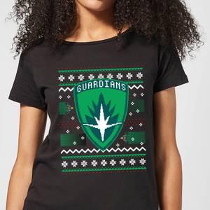 Guardians Of The Galaxy Badge Pattern Christmas Women's Christmas T-Shirt - Black