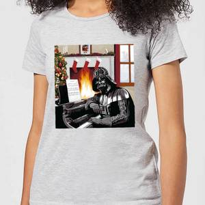 Star Wars Darth Vader Piano Player Women's Christmas T-Shirt - Grey
