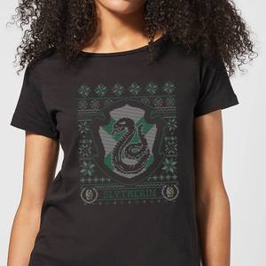 T-Shirt Harry Potter Serpeverde Crest Christmas - Nero - Donna