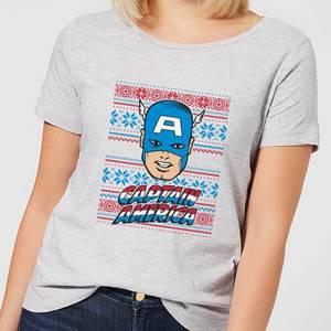 Marvel Captain America Face Women's Christmas T-Shirt - Grey