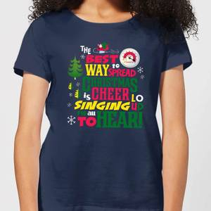 Elf Christmas Cheer Women's Christmas T-Shirt - Navy
