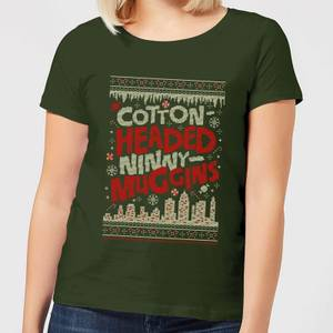 Elf Cotton-Headed-Ninny-Muggins Knit Women's Christmas T-Shirt - Forest Green