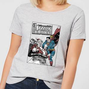 DC Superman Action Comics Damen Christmas T-Shirt - Grau
