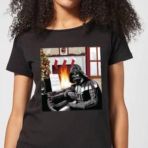 Star Wars Darth Vader Piano Player Women's Christmas T-Shirt - Black