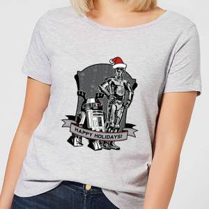 Star Wars Happy Holidays Droids Women's Christmas T-Shirt - Grey