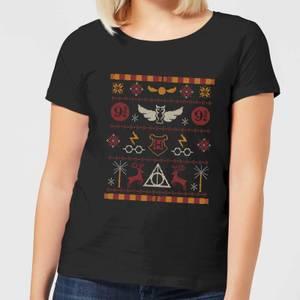 Harry Potter Knit Damen Christmas T-Shirt - Schwarz
