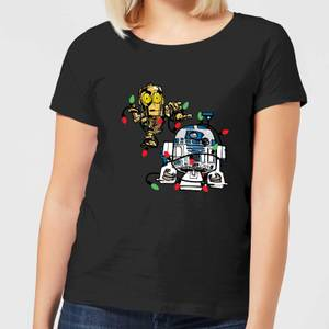 Star Wars Tangled Fairy Lights Droids Women's Christmas T-Shirt - Black