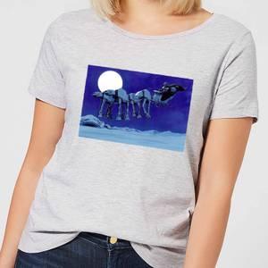 Star Wars AT-AT Darth Vader Sleigh Women's Christmas T-Shirt - Grey