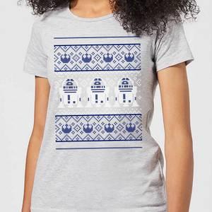Star Wars R2-D2 Knit Women's Christmas T-Shirt - Grey