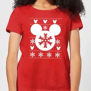 Disney Snowflake Silhouette Women's Christmas T-Shirt - Red