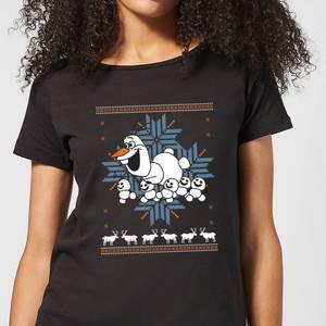 T-Shirt Disney Frozen Olaf and Snowmen Christmas - Nero - Donna