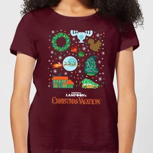 National Lampoon Griswold Christmas Starter Pack Women's Christmas T-Shirt - Burgundy