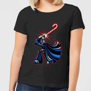 Star Wars Candy Cane Darth Vader Women's Christmas T-Shirt - Black