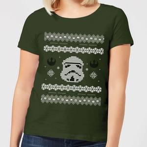 Star Wars Stormtrooper Knit Women's Christmas T-Shirt - Forest Green