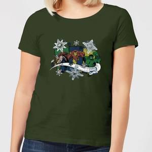 Marvel Thor Iron Man Hulk Snowflake Women's Christmas T-Shirt - Forest Green