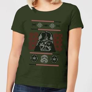 Star Wars Darth Vader Face Knit Women's Christmas T-Shirt - Forest Green