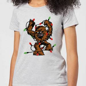 Star Wars Tangled Fairy Lights Chewbacca Women's Christmas T-Shirt - Grey