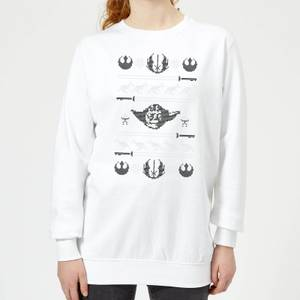 Star Wars Yoda Sabre Knit Women's Christmas Sweater - White