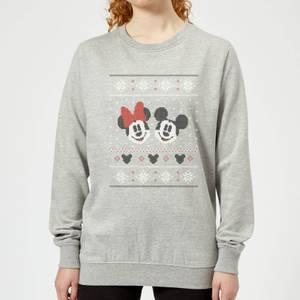 Disney Mickey and Minnie Women's Christmas Sweatshirt - Grey