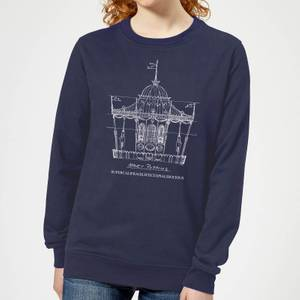 Mary Poppins Carousel Sketch Women's Christmas Sweatshirt - Navy