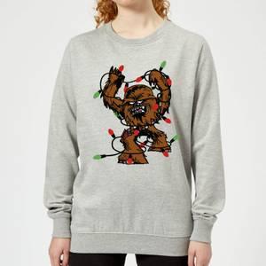 Star Wars Tangled Fairy Lights Chewbacca Women's Christmas Sweatshirt - Grey