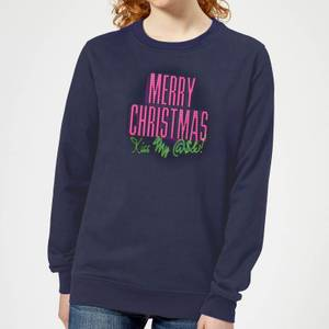 National Lampoon Merry Christmas (Kiss My @$$) Women's Christmas Sweatshirt - Navy