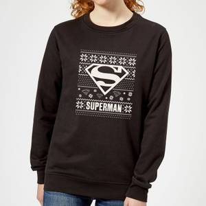 DC Superman Knit Pattern Women's Christmas Sweater - Black