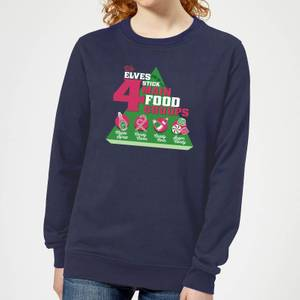 Elf Food Groups Women's Christmas Sweatshirt - Navy