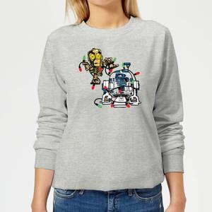 Star Wars Tangled Fairy Lights Droids Women's Christmas Sweatshirt - Grey