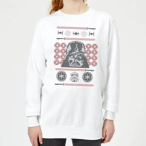 Star Wars Darth Vader Face Knit Women's Christmas Sweater - White