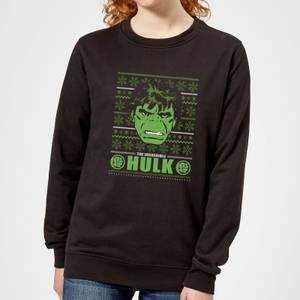 Marvel Hulk Face Women's Christmas Sweater - Black