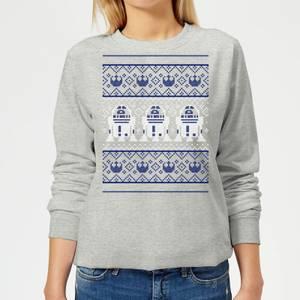 Star Wars R2-D2 Knit Women's Christmas Sweatshirt - Grey