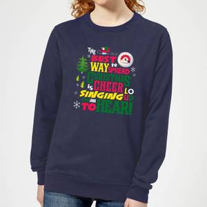 Elf Christmas Cheer Women's Christmas Sweatshirt - Navy
