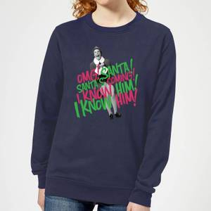 Elf Santa! I Know Him! Women's Christmas Sweatshirt - Navy
