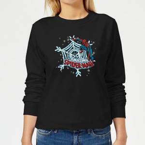Marvel The Amazing Spider-Man Snowflake Web Women's Christmas Sweater - Black