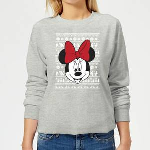 Disney Minnie Face Women's Christmas Sweatshirt - Grey