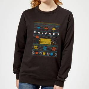 Friends Sofa Knit Women's Christmas Sweater - Black