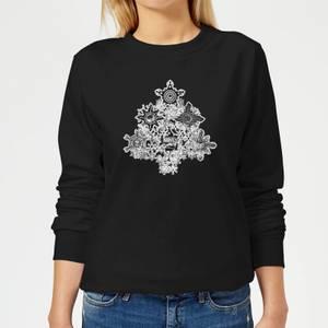 Marvel Shields Snowflakes Women's Christmas Sweatshirt - Black