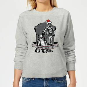 Star Wars Happy Holidays Droids Women's Christmas Sweatshirt - Grey