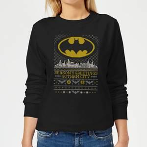 DC Seasons Greetings From Gotham Women's Christmas Sweater - Black