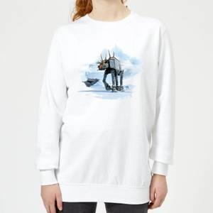 Star Wars AT-AT Reindeer Women's Christmas Sweatshirt - White