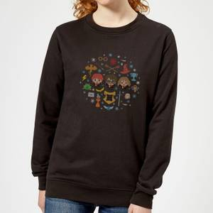 Harry Potter Characters Women's Christmas Sweatshirt - Black