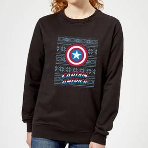 Marvel Captain America Women's Christmas Sweater - Black